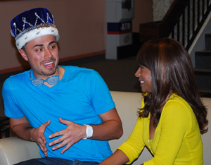 Homecoming King, Eddie Watson is intervieweed by CSU-Pueblo TODAY writer, Jessica Miller. photo by Simone Peinkerof