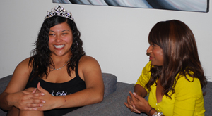 Homecoming Queen Jazmine Wells is interviewed by CSU-Pueblo TODAY writer, Jessica Miller. photo by Simone Peinkofer