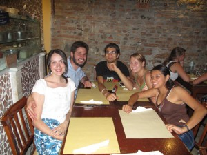 Adrianne Hamilton, Chris Picicci, Javen Mondragon, Kayla Monack and Melissa Garduno A pizzeria in Perugia, Italy. photo provided by Chris Picicci
