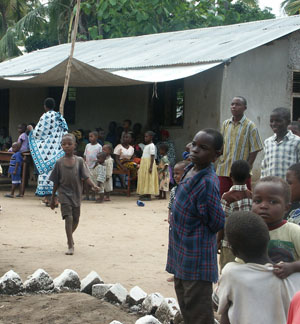 People waiting outside a clinic in Africa. photo courtesy of Jennifer Joyce