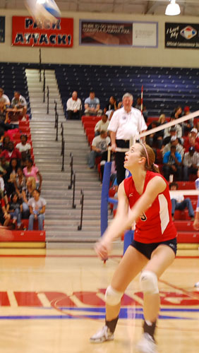 Brittney Hanley sets up to bump the ball