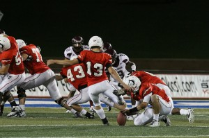 Greg O'Donnell kicking a field goal against West Texas A&M. He would win his first RMAC Special Teams Player of the Week award after this game. Courtesy of Gothunderwolves.com.