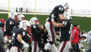 T-Wolves celebrating after an overtime victory against the Chadron State College Eagles, Oct. 6, 2012. Photo courtesy of gothunderwolves.com.