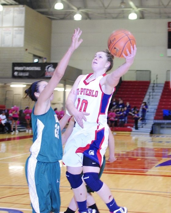 Paige Ramm as she fights for a basket. Photo courtesy of Tyler Shomaker