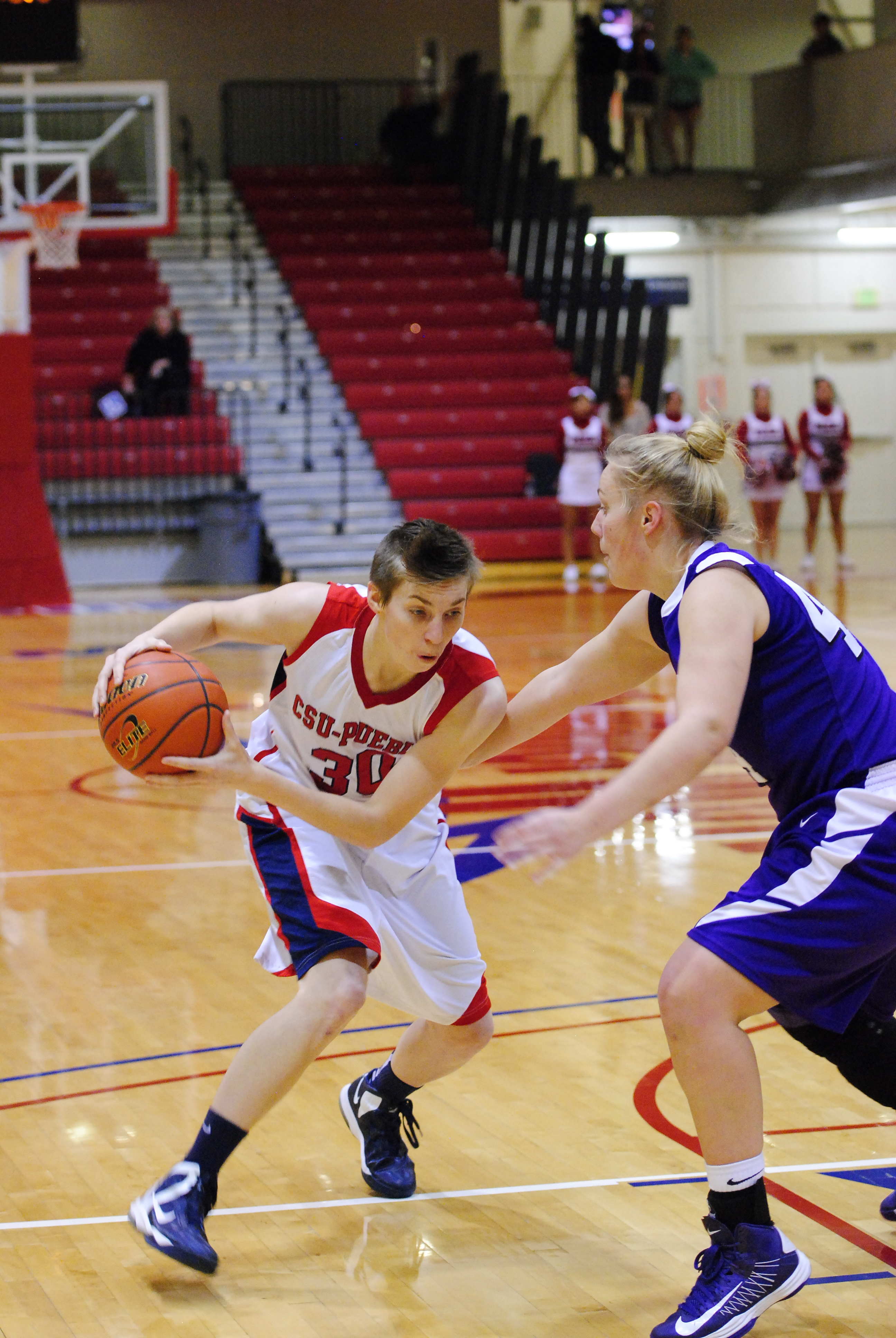 Laurel Kearsley drives to the basket to extend the Thunderwolves lead. Photo courtesy of Tyler Shomaker