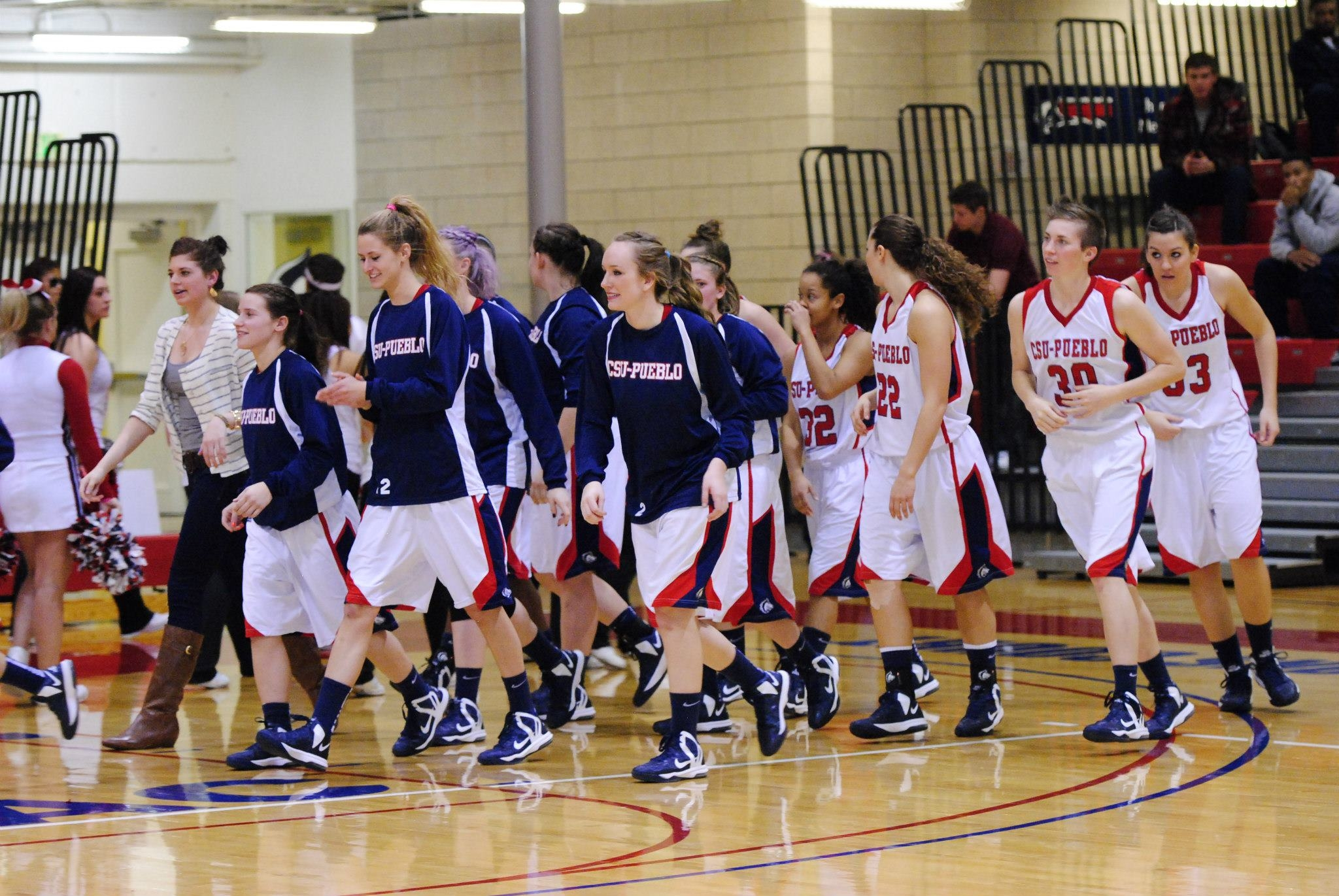 CSU-Pueblo women's basketball team walk on to the court before a game. Photo courtesy of Tyler Shomaker