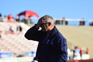 Head coach John Wristen following the loss to Grand Valley State. Photo courtesy of Tyler Shomaker.