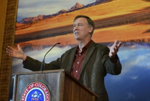 Gov. Hickenlooper at a news conference in Dec. 2013. (Photo by Karl Gehring/The Denver Post)
