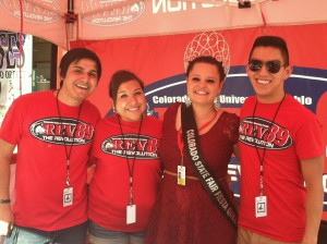 Fiesta Queen, Andrea Casados, visits with the REV89 crew at the Colorado State Fair.