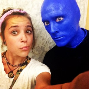 Reporter, Jodi Schlosberg, takes a selfie with a Blue Man.  Blue Man Group performed in Pueblo Sept. 18-19.