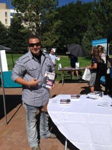 "Mike Marino promotes his book, ""Campus-preneur."""