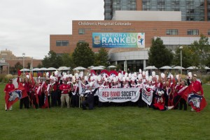 The CSU-Pueblo marching band, cheer and dance squads pose at the Colorado Children's Hospital in Denver.