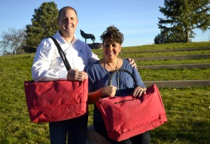 David and Jacque Ponx pose with their new secure CoolBags.