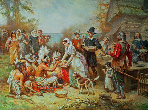 """""""The First Thanksgiving"""" by Jean Leon Gerome Ferris 1915"""