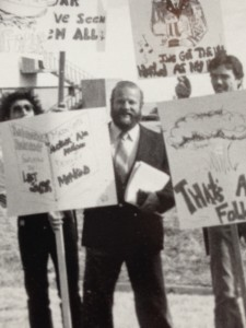 Jack Seilheimer protested on campus with students. He made an effort to build relationships with students during his 49 years as a professor.