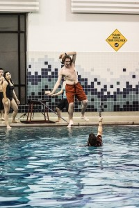 Slacklining at the CSU-Pueblo Recreation Center pool with Outdoor Pursuits. Photo by Jessica Warren