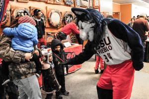 CSU-Pueblo mascot Wolfie celebrated his 20th birthday on Jan. 21. Photo by Daniel Potter.