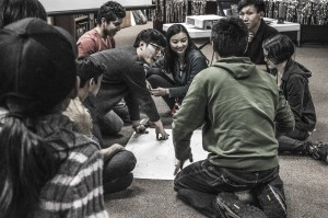 International students play games at the Lunar New Year celebration. Photo by Jessica Warren