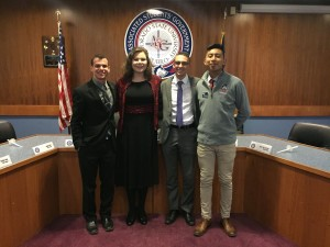 Former ASG president and vice president,Timothy Zercher and Mario Ruiz join newly elected executives Sarah Zarr and Gene Wilson at their induction. Photo from CSU-Pueblo ASG Facebook.