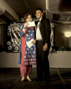 Hosts Sarah Zarr and Talha Quereshi address the audience. | Photo by Daniel Potter