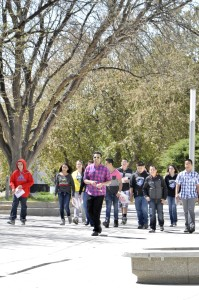 As a student ambassador, Talha Qureshi leads a tour of prospective students around campus. Photo by Christy Wiabel