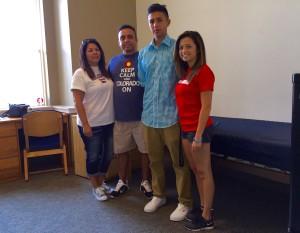 The Vigil family helps freshman Augustino Vigil move into his dorm. Photo by Michelle Pham.