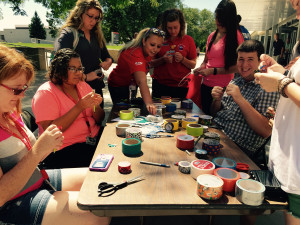 Students create duct tape art at the SEAL office's first DIY event of the semester. | Photo by Keelan Bailey