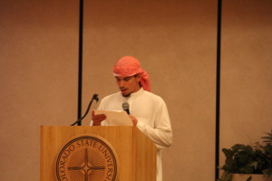 Laith Musameh gives background about Eid-Ul-Adha. | Photo by Lilly Smith