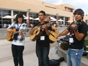Isaiah Vialpando (middle) as a high school sophomore at a lunchtime jam session at the Mariachi Spectacular workshop | Photo courtesy of Basilia