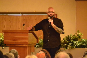 "Jackson Galaxy, host of ""My Cat From Hell"" on Animal Planet, speaking at the OUC Ballroom during the Distinguished Speaker Series at CSU-Pueblo. Photo by Dustin Cox."