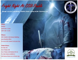 Fright Night at CSU-Pueblo flyer courtesy of Medical Science Society Club