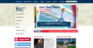 A screenshot of the home page of CSU-Pueblo's website. A full website redesign is currently underway.