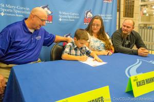Kaleb Mannon, 7, signed with CSU-Pueblo Men's Basketball through Team IMPACT. Photo courtesy of CSU-Pueblo Athletics.