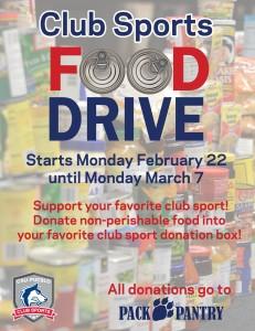 Club sports food drive flyer   Photo courtesy of CSU-Pueblo Intramural's Facebook page