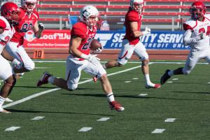 Austin Micci broke loose for a touchdown run in home game against Dixie State ~ photo by Jason Prescott