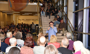 Poet laureate Juan Felipe Herrera entertains CSU-Pueblo audience ~ photo courtesy of csupueblo.edu